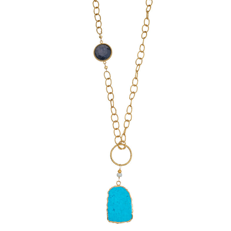 Florence Turquoise & Pyrite Necklace