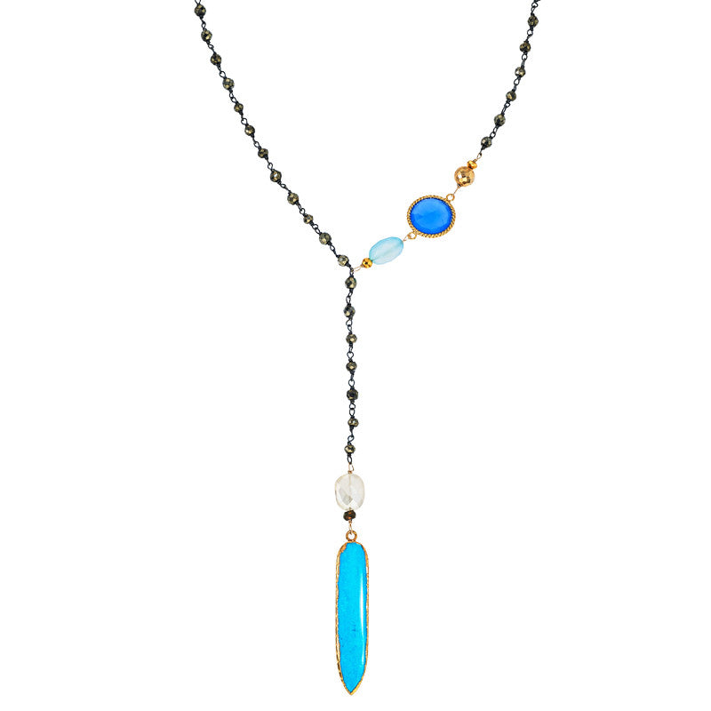 Turquoise and pyrite Y necklace
