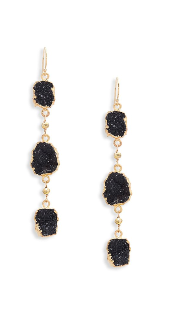3-Tier Dark Druzy Earrings