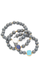 Turquoise, Blue Lapis and Coin Pearl Gray Wood Set