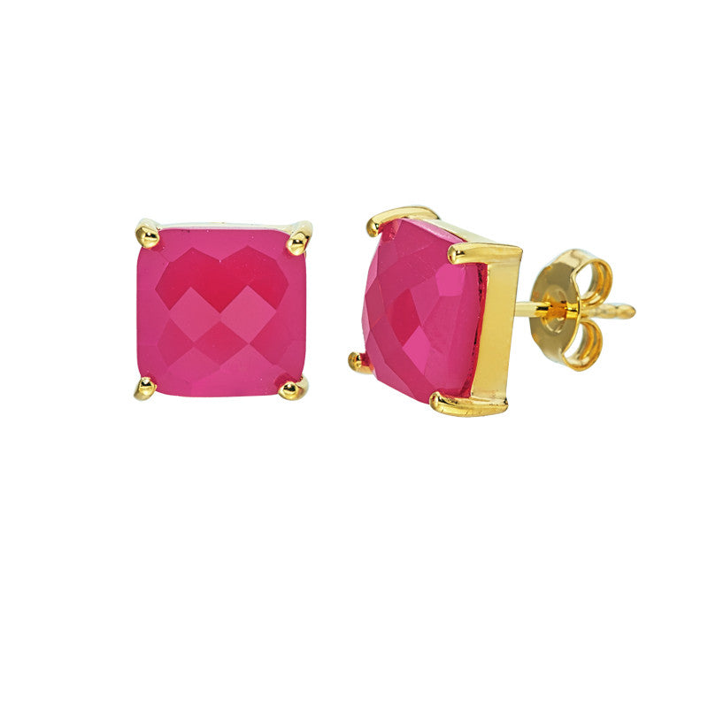 Hot Pink Chalcedony Studs
