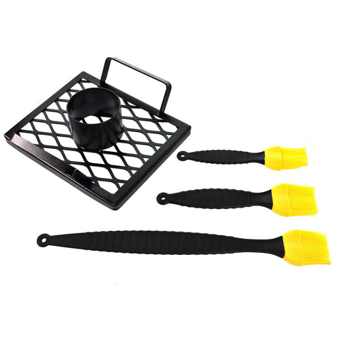 BBQ Accessories Plus Beer Can Chicken Cooker and 3 Silicone Brush Basting Set Tools for gas or charcoal grills with Bonus Recipe E Book- Great gift for that BBQ Lover