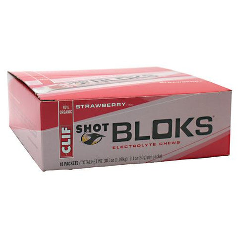 Clif Bar Shot Bloks Electrolyte Chews - Strawberry - 18 ea - 722252380623