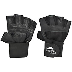 Spinto Fitness Mens Weight Lifting Gloves with Wrist Wraps - Black, (Small) - 1 ea - 646341998660