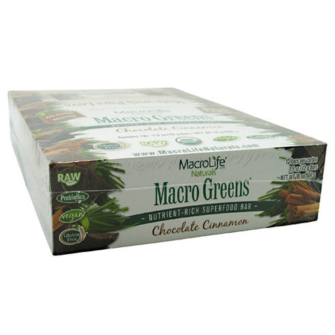 Macro Life Naturals Macro Greens Raw Anti-Oxidant Super Food Bars - Chocolate & Cinnamon - 12 ea - 852434001210