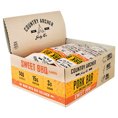 Country Archer Pork Bar with Collagen - Sweet BBQ - 12 Bars - 854837006076