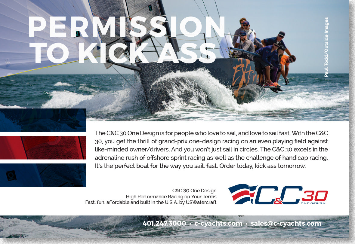 CC30 half page ad single yacht sailing towards the camera with headline, Permission to Kick Ass