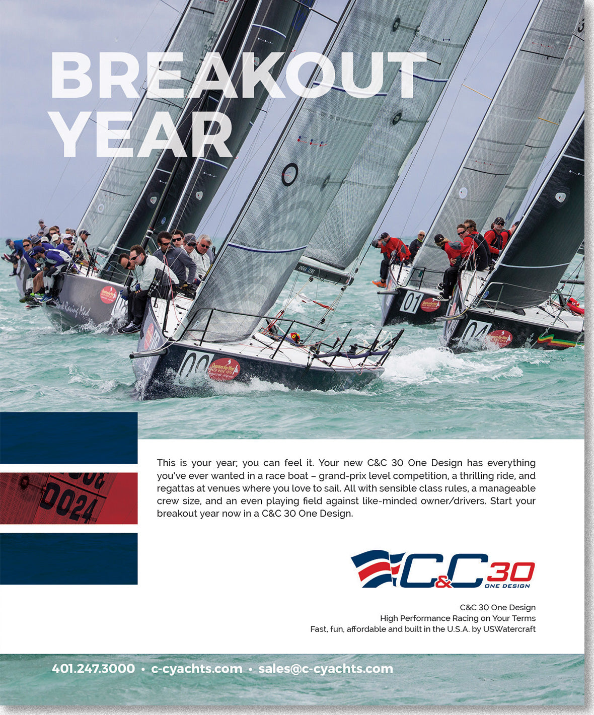 CC30 One Design Ad, a fleet of yachts with Breakout Year Headline