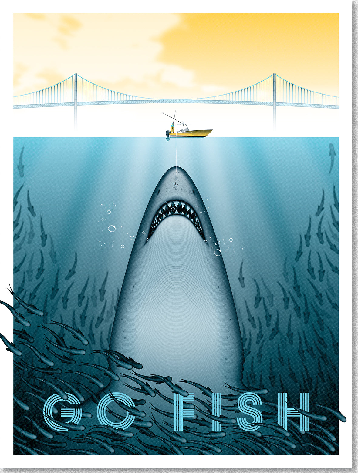 Go Fish art poster image of a huge shark rising up to take a small hook from a tiny fishing boat