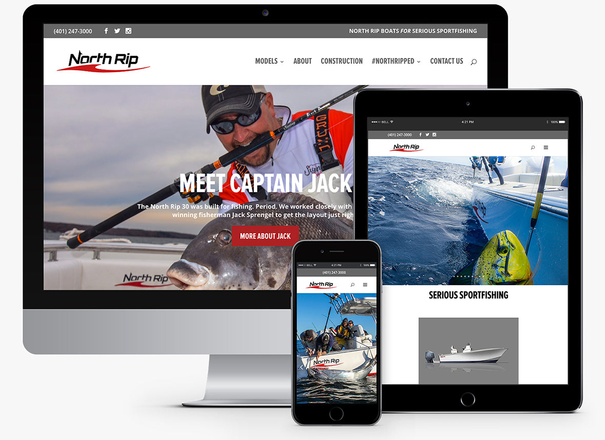 North Rip Boats responsive website viewed across devices.