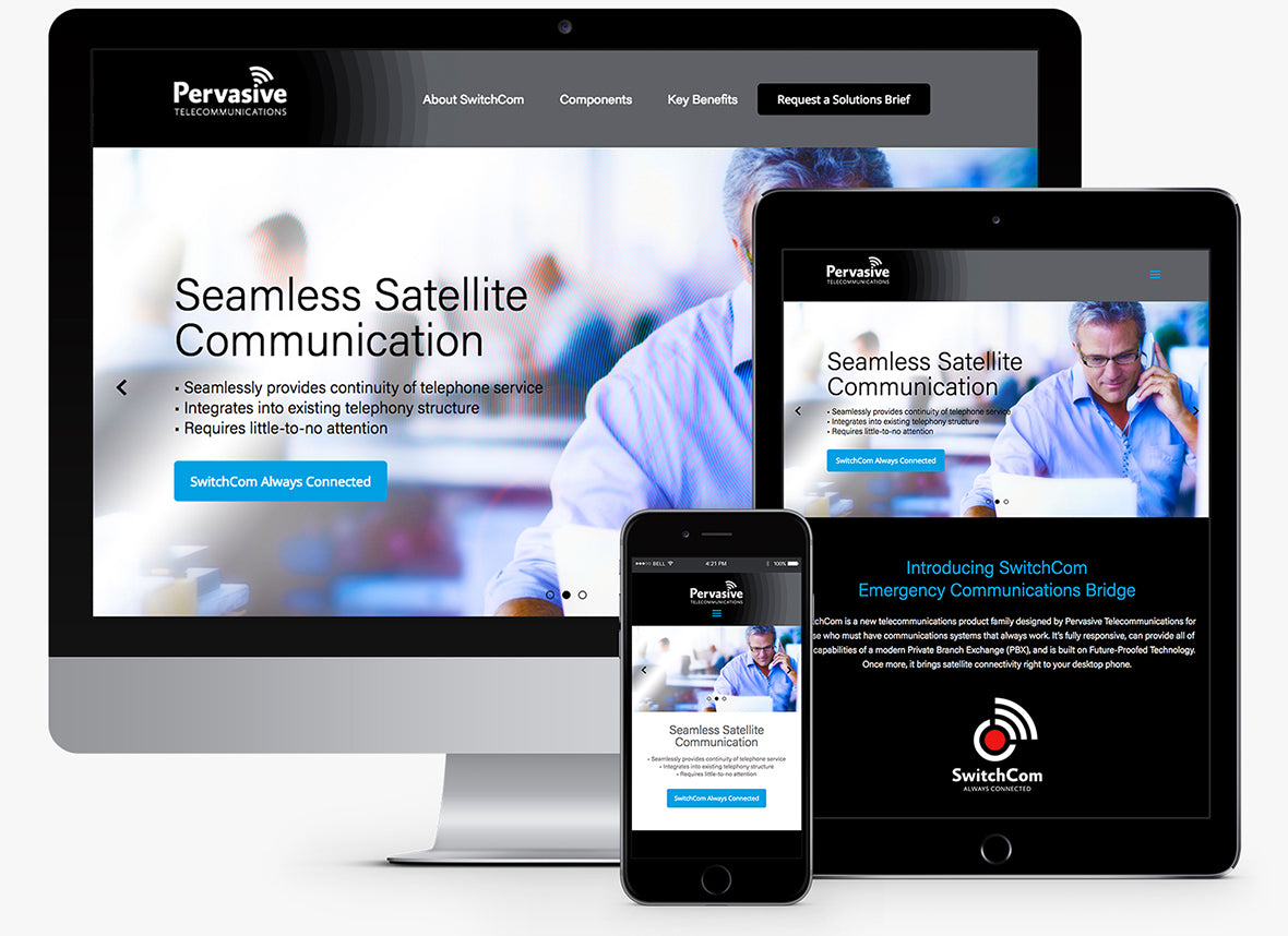 Pervasive Telecom responsive Shopify website design viewed across multiple devices.