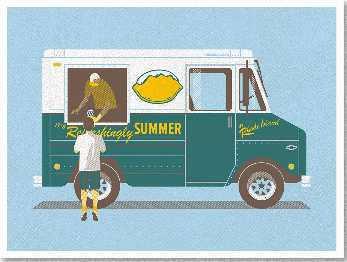 Refreshingly Summer art poster inspired by vintage Del's Lemonade truck