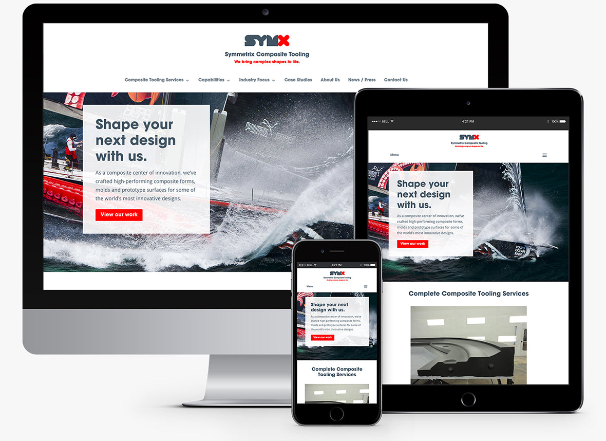 Symmetrix Composite Tooling Responsive WordPress Site viewed on iphone, ipad, mac monitor.
