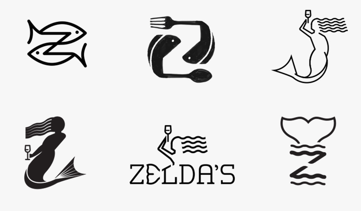 Zeldas logo sketches mermaids and fishes in a variety of Z shapes