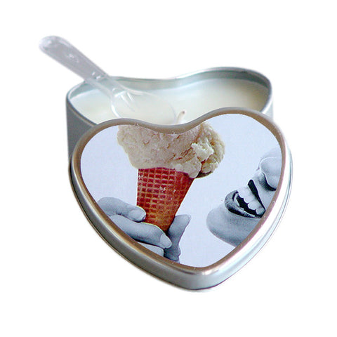 Edible Massage Candle in Heart Shaped Tin