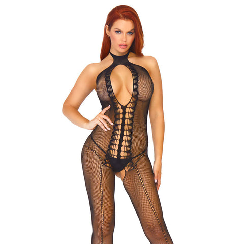 Fishnet Keyhole Halter Bodystocking