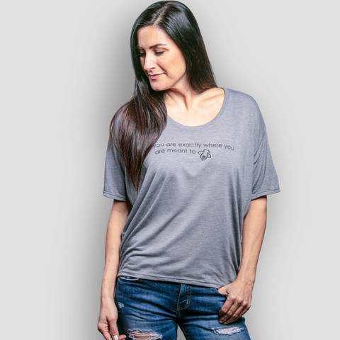 """You Are Exactly Where You Are Meant To Bee"" Freedom Tee - Heather Gray - BeeAttitudes"
