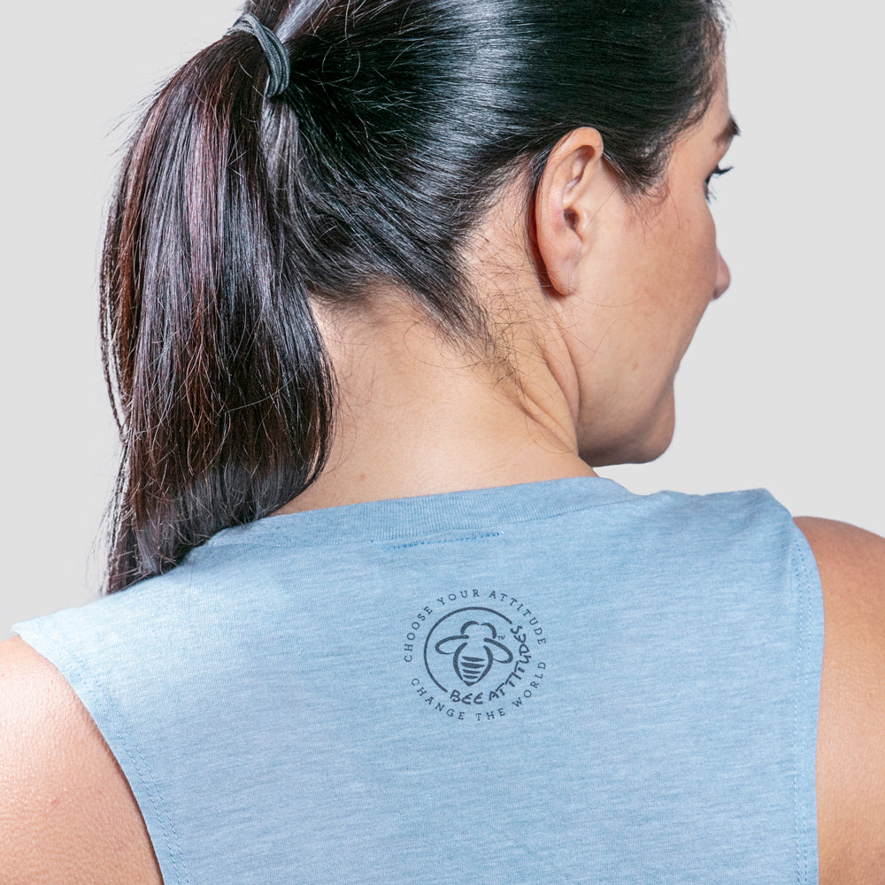 Bee Real Not Perfect Muscle Tank - Light Blue - BeeAttitudes