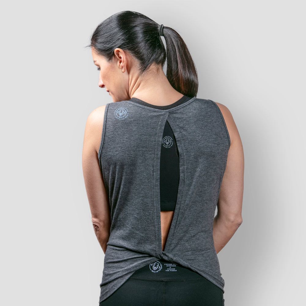 Strong Open Back Yoga Tank  - Vintage Black - BeeAttitudes