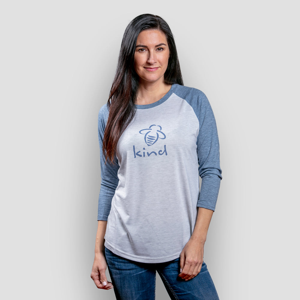 Bee Kind Raglan - Washed Denim - BeeAttitudes