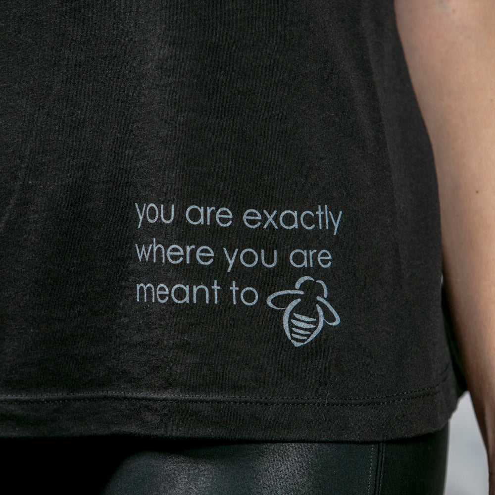 """You Are Exactly Where You Are Meant To Bee"" Muscle Tank - Black - BeeAttitudes"