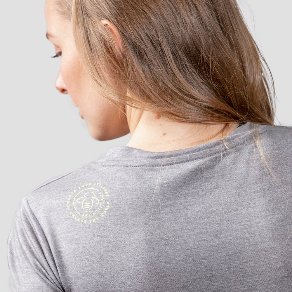 Bee Kind Heather Gray Fitted V-Neck - BeeAttitudes