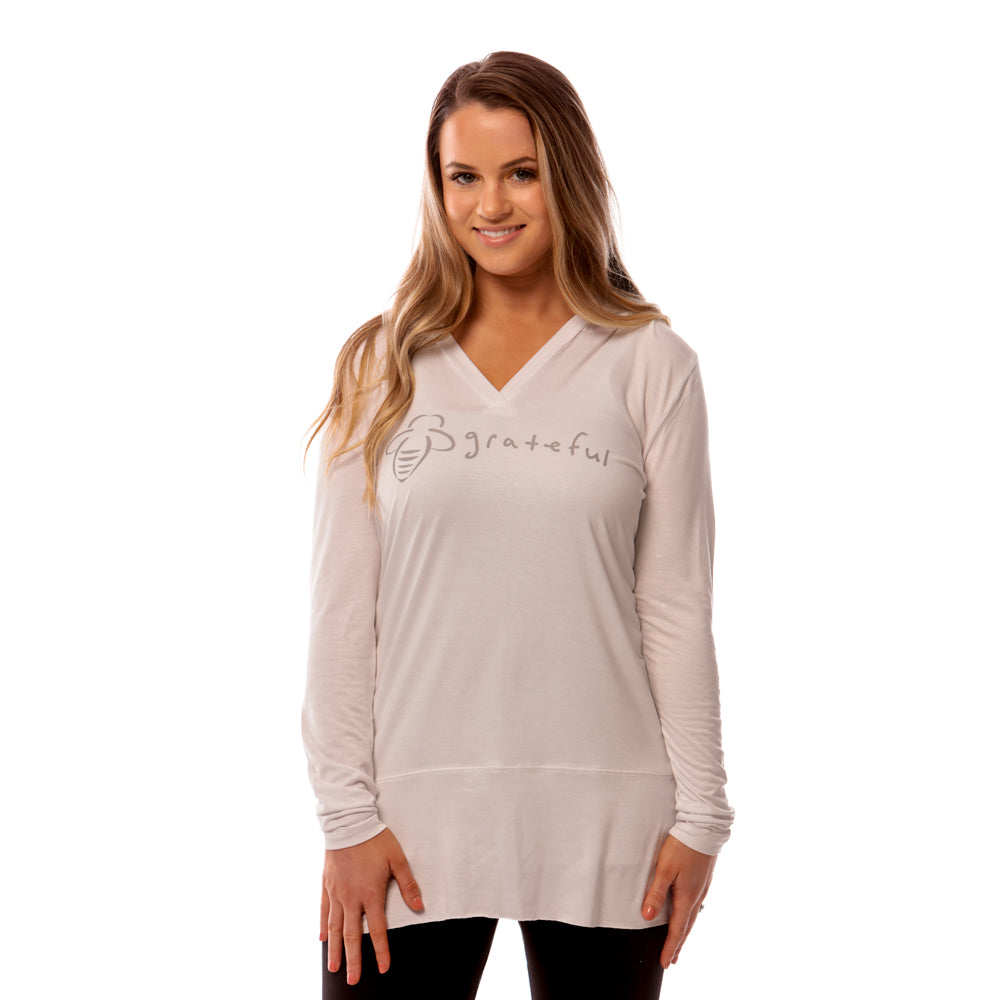 Bee Grateful Hoodie Tunic - White - BeeAttitudes