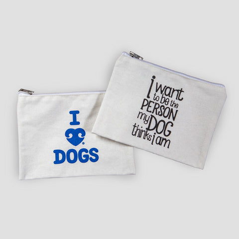 I Heart Dogs Slim V-Neck - Heather Navy