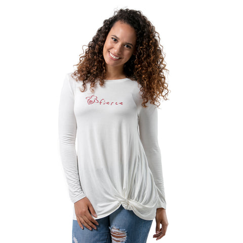 Long Sleeve Bee Fierce Cream Knotted Tee