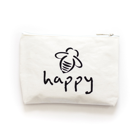 Bee Happy White/Red Magnet