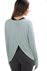 Yoga Bee Fierce Split Back Green Long Sleeve Tee - BeeAttitudes