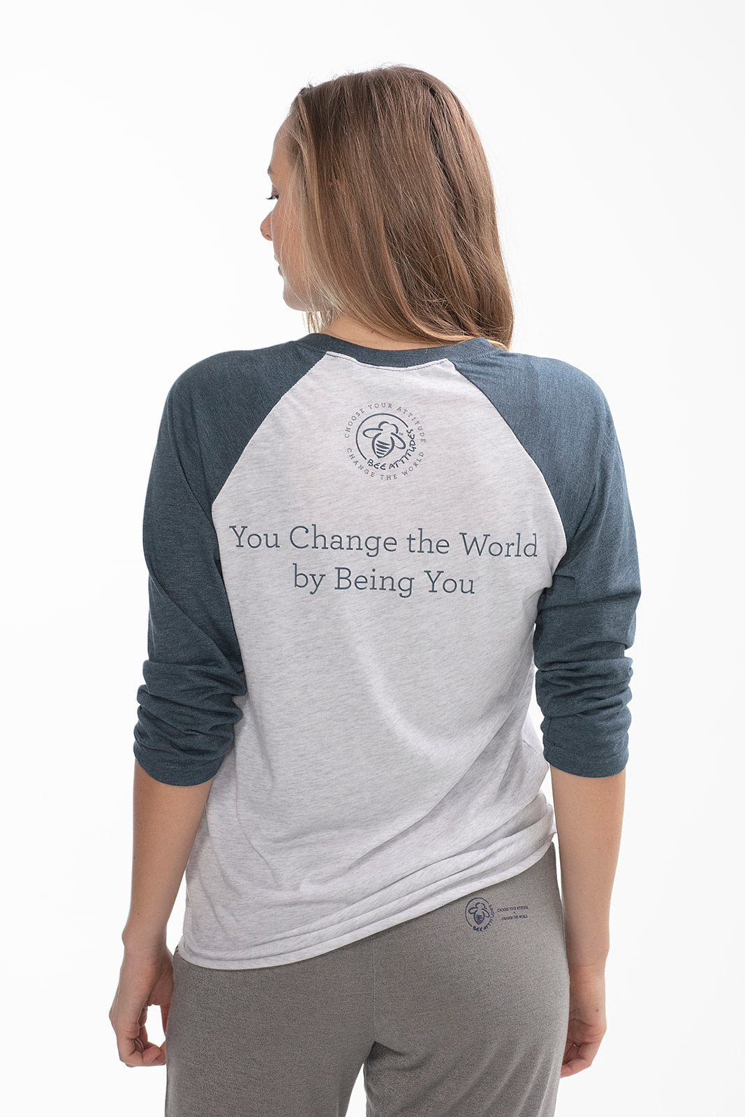 Bee The Change Baseball Tee Navy