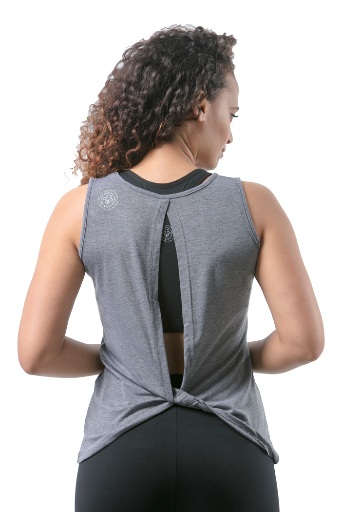 Yoga Bee Empowered Open Back Gray Tank