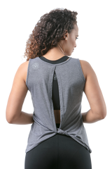 Yoga Bee Empowered Open Back Gray Tank - BeeAttitudes