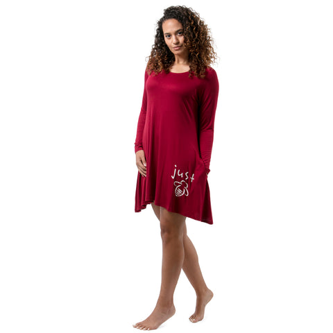 Just Bee Long Sleeve Wine A-Line Dress - BeeAttitudes