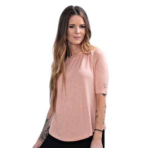 Bee Real Not Perfect Dusty Pink Long Sleeve Cropped Tee
