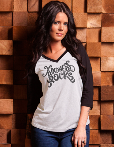 Kindness Rocks Fitted V-Neck Raglan - Black - BeeAttitudes