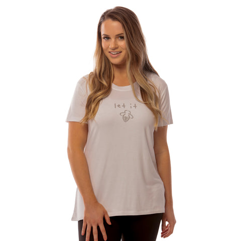 Bee Fearless Fitted V-Neck - White