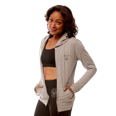 Let It Bee Zip Hoodie with Thumb Holes Gray - BeeAttitudes