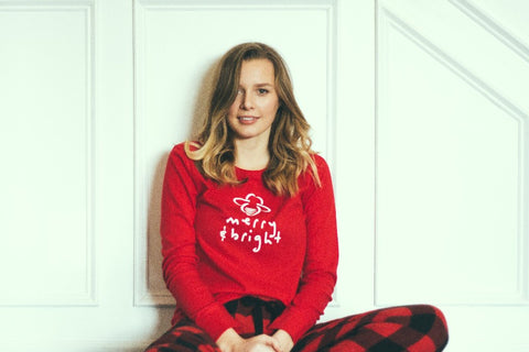 Holiday Red Thermal Bee Merry & Bright - BeeAttitudes