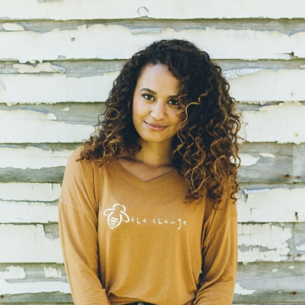 Long Sleeve Bee The Change Gold V-Neck - BeeAttitudes