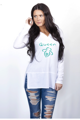Queen Bee Hoodie Tunic White