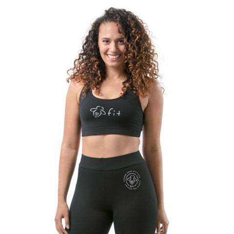Racer Back Bee Fit Black Sports Bra - BeeAttitudes