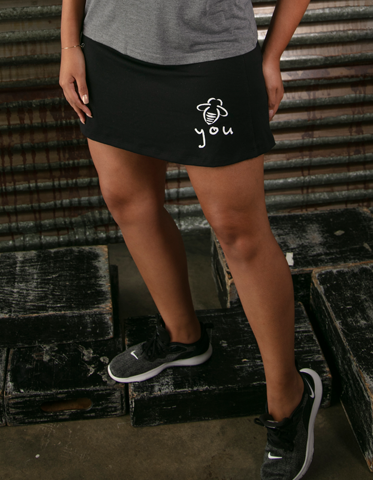 Bee You Running Skort (with Pocket) - Black - BeeAttitudes