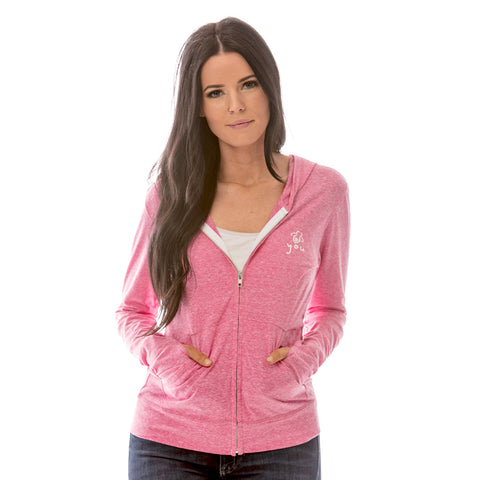 Bee Fierce Zip Hoodie with Thumb Holes White