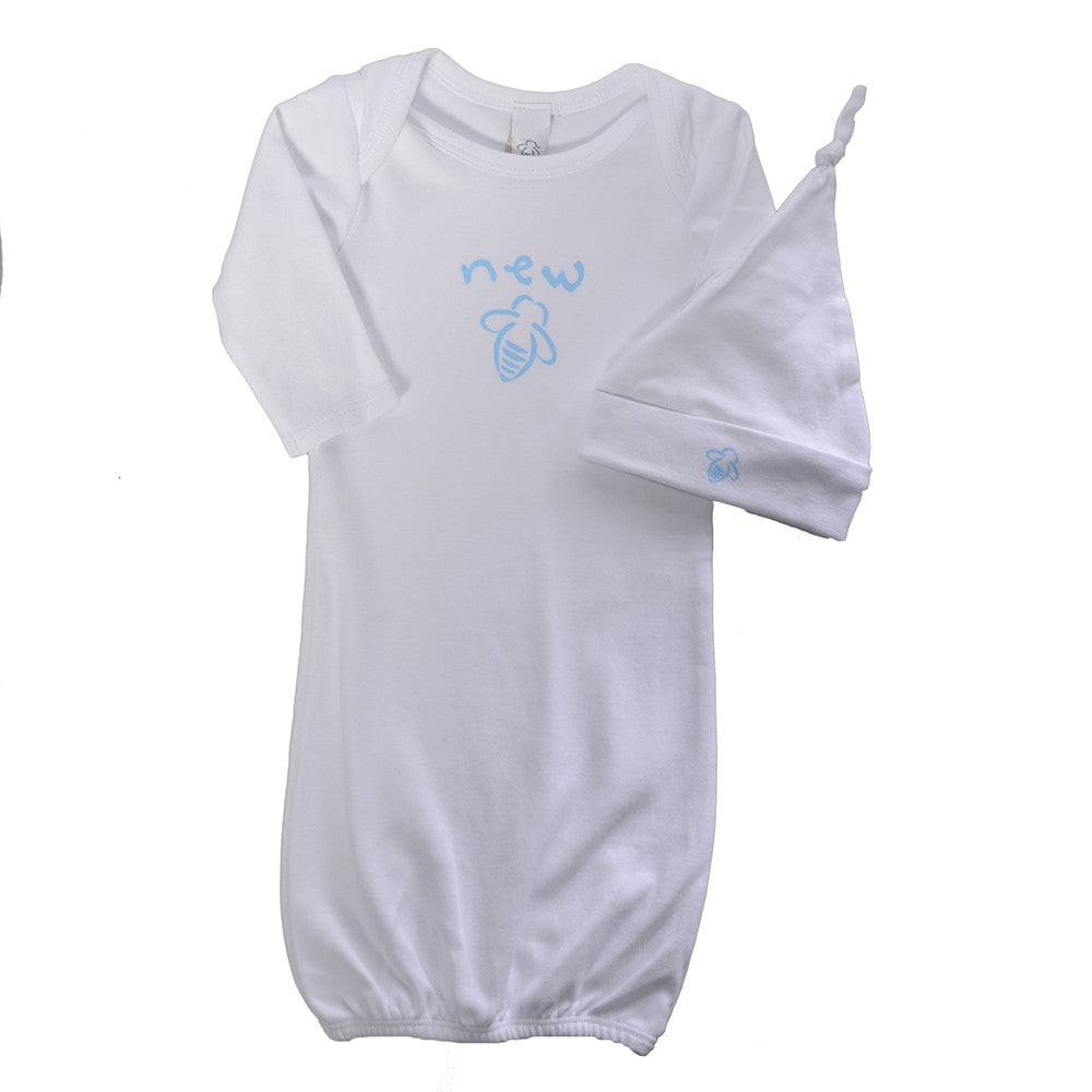 New Bee Gown & Cap Set  - White/Baby Blue - 0/3 Months - BeeAttitudes