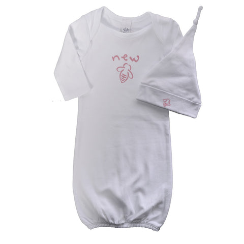 New Bee Gown & Cap Set - White/Pink -0/3 Months - BeeAttitudes