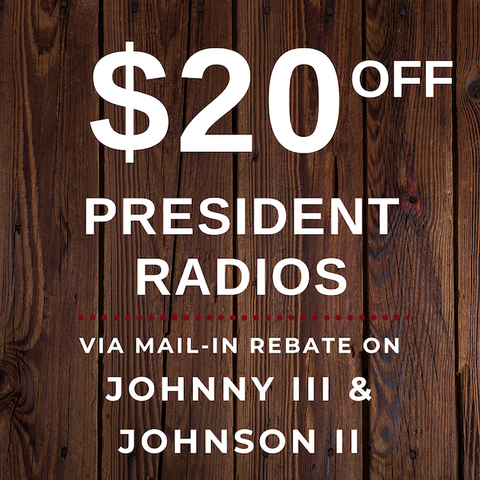 $20 Off President Radios | Right Channel Radios