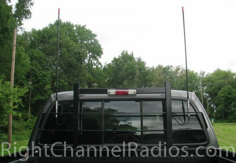 Firestik 3-Way Antenna Mount installed on Headache Rack