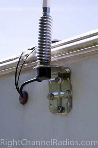 Firestik 3-Way Antenna Mount Installed on Motorhome Closeup 2